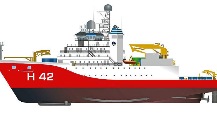 Ilustração do modelo no qual será baseado o futuro Navio de Apoio Antártico da Marinha.