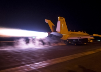 """160415-N-MQ094-010  ARABIAN GULF (April 15, 2016) An EA-18G Growler, assigned to the """"Patriots"""" of Electronic Attack Squadron (VAQ) 140, launches from the flight deck of aircraft carrier USS Harry S. Truman (CVN 75). Harry S. Truman Carrier Strike Group is deployed in support of Operation Inherent Resolve, maritime security operations, and theater security cooperation efforts in the U.S. 5th Fleet area of operations. (U.S. Navy photo by Mass Communication Specialist 2nd Class Ethan T. Miller/Released)"""