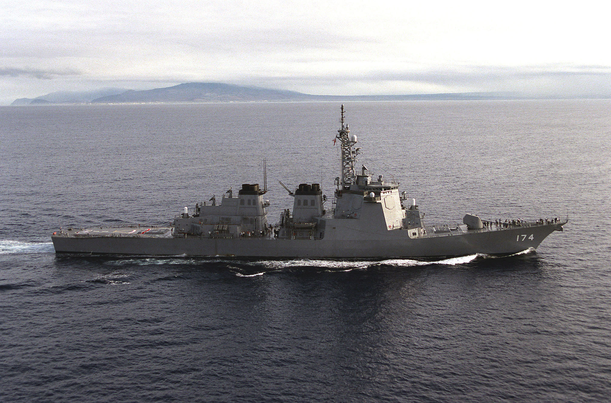 Starboard beam view of the Japanese Maritime Self Defense Force ship JDS KIRISHIMA (DDG-174) as she returns to Hawaii at the end of exercise RIMPAC '98.