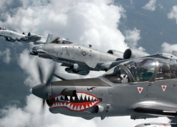A Colombian Air Force A-29B Super Tucano flies alongside two U.S. Air Force A-10 Thunderbolt IIs from the 75th Fighter Squadron, Moody Air Force Base, Ga., during Exercise Green Flag East Aug. 21, 2016. Colombia and U.S. share a special relationship, and the joint training exercise provides a platform to strengthen those ties. Four Colombian A-29s and 45 Colombian Airmen are at Barksdale Air Force Base, La., through Aug. 29. (Photo courtesy Colombian Air Force)